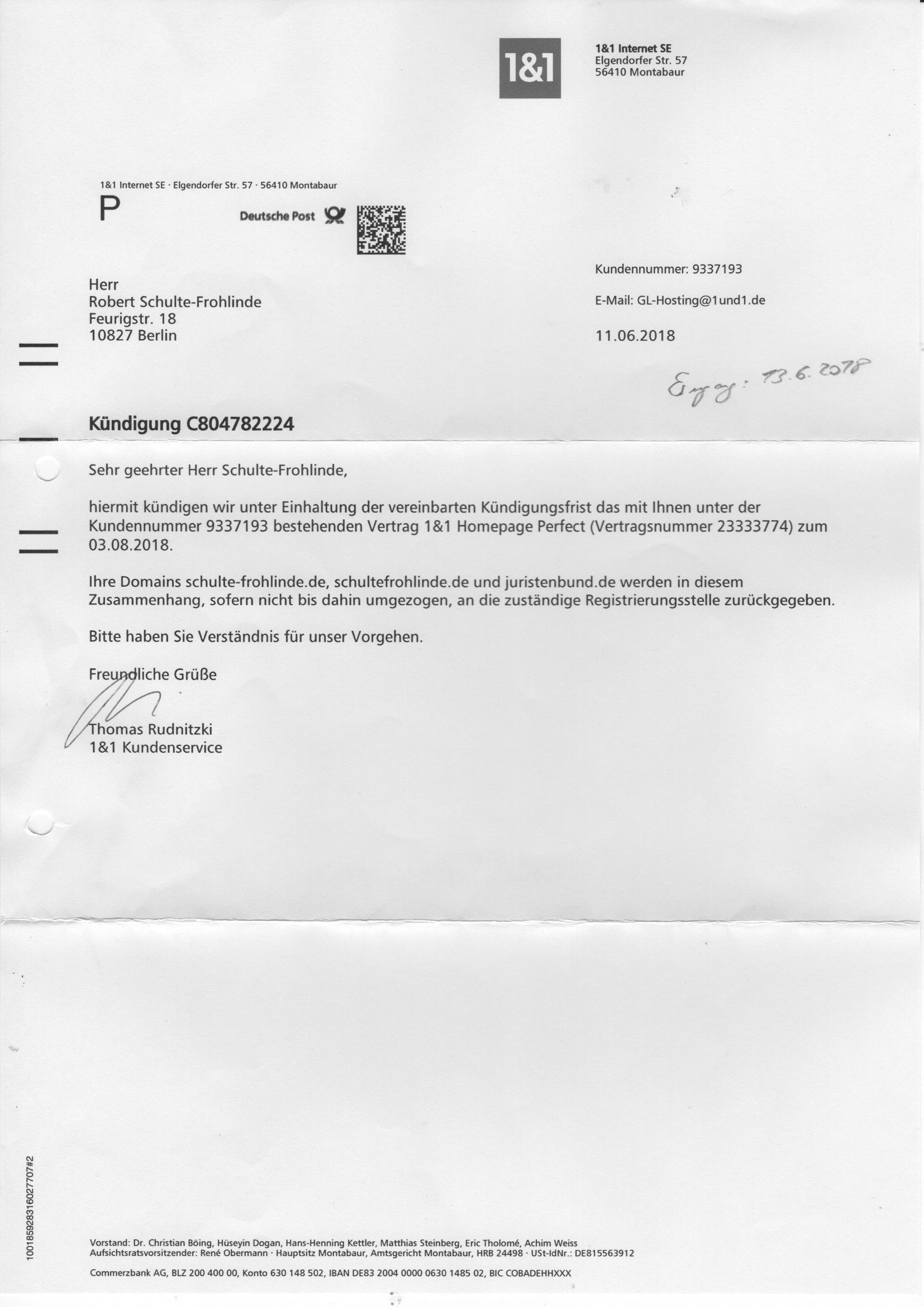 Robert Schulte Frohlinde Kündigung Robert Schulte Frohlinde